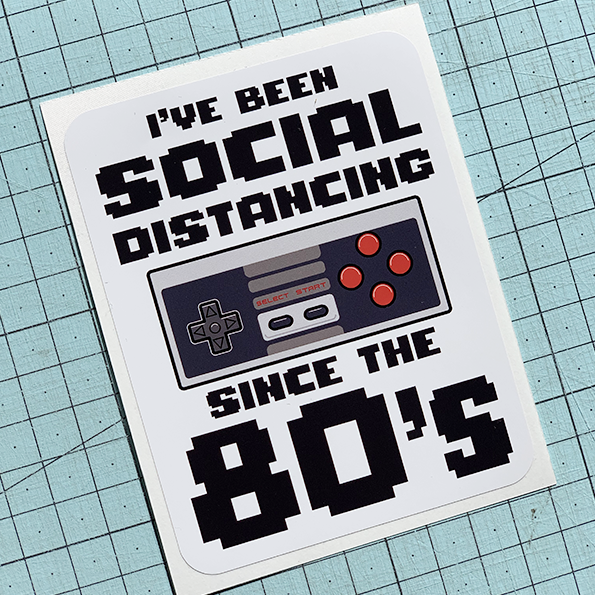 Social Distancing 80s Sticker