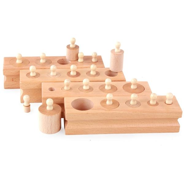 Knobbed cylinders - Sensorial Montessori - Wood N Toys