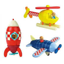 Load image into Gallery viewer, Wooden Magnetic Rocket / Plane / Helicopter - Wood N Toys
