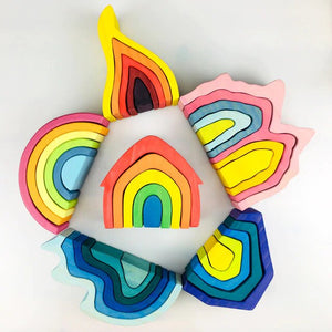 Rainbow wooden toys - Life set - 6 pcs - Wood N Toys