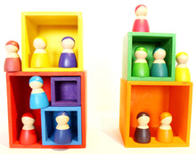 Load image into Gallery viewer, Wooden rainbow stacking boxes - Educational toy - Wood N Toys