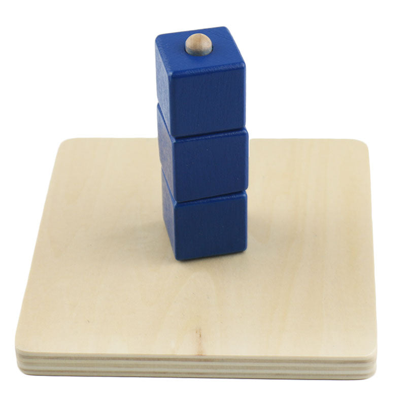 Wooden cubes on vertical dowel - Toddler Montessori - Wood N Toys