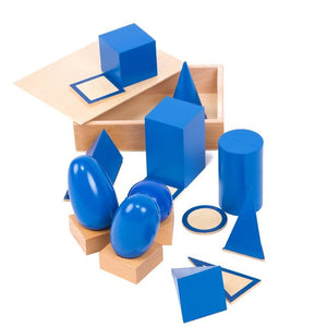 Geometric solids with stands - Montessori Materials - Wood N Toys