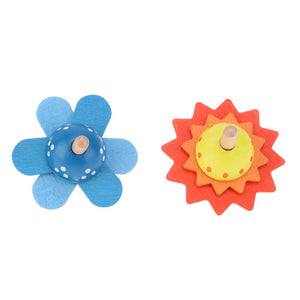 Wooden flower spinning tops - Wood N Toys