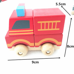 Wooden stacking cars - Toddler toy - Wood N Toys