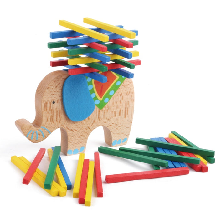 Camel & Elephant wooden tower - Educational toy - Wood N Toys