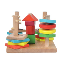 Load image into Gallery viewer, Wooden geometrical shapes sorter - Educational toy - Wood N Toys