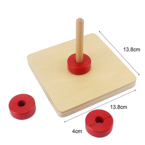 Wooden disc on vertical dowel - Toddler Montessori - Wood N Toys
