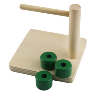 Wooden Disc on horizontal dowel - Toddler Montessori - Wood N Toys