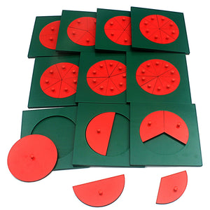 Wooden fractions table - Montessori mathematics - Wood N Toys
