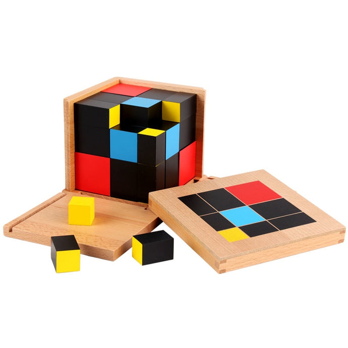 Trinomial wooden cube - Montessori material - Wood N Toys