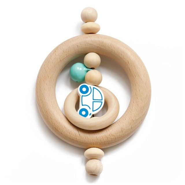 Natural wooden baby rattle - Toddler - Wood N Toys