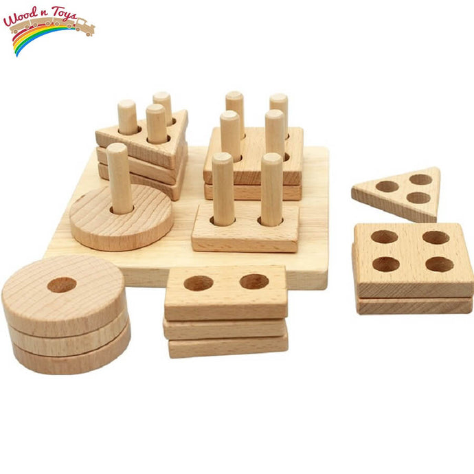 Natural stacking & shapes sorter - Educational toy - Wood N Toys