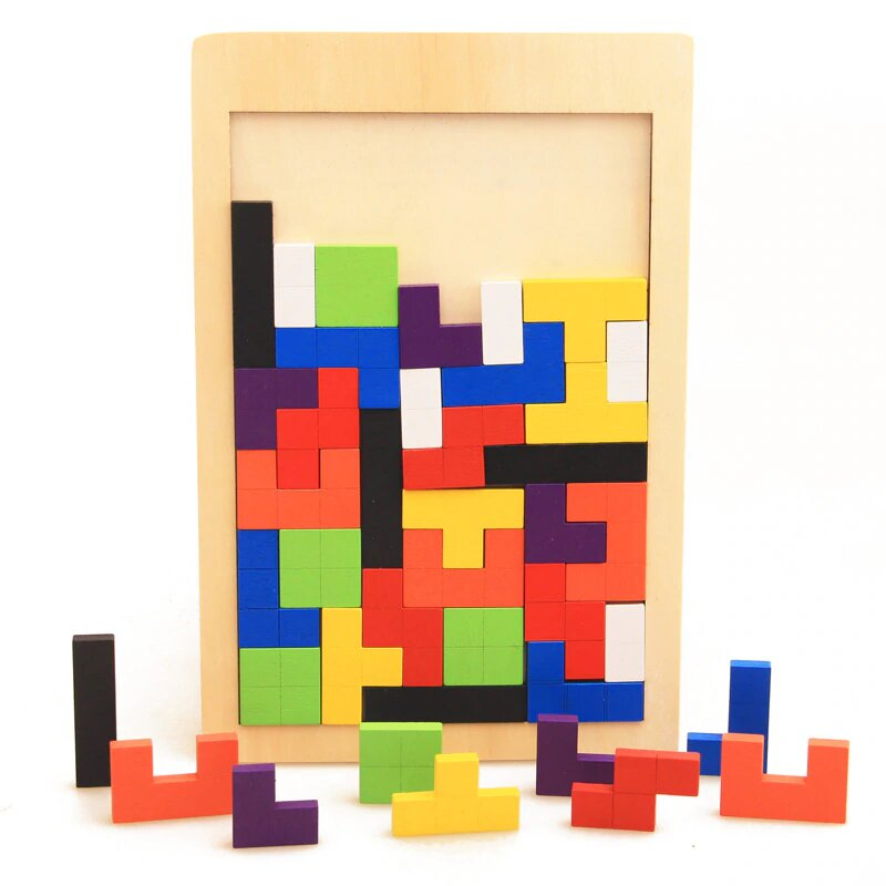 Wooden Tetris Puzzle - Educational material - Wood N Toys