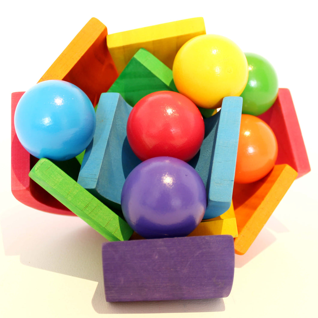 Wooden rainbow balls - Educational toy - Wood N Toys