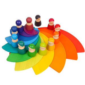Wooden Rainbow semi circle  - Educational toy - Wood N Toys