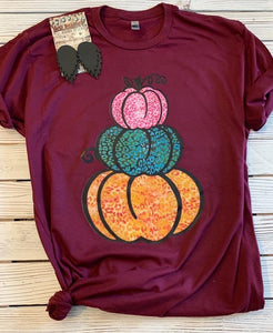 Leopard stacked pumpkins tee