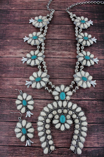 WHITE AND TURQUOISE STONE SQUASH BLOSSOM NECKLACE AND EARRING SET