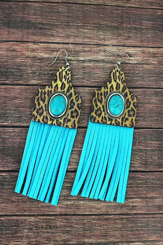 TURQUOISE & LEOPARD WOOD CATTLE TAG BLUE FRINGE EARRINGS