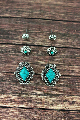 FRAMED TURQUOISE DIAMOND AND FLOWER STUD EARRINGS 3 PAIR SET