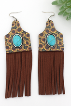 Load image into Gallery viewer, Cow tag sunflower fringe earrings