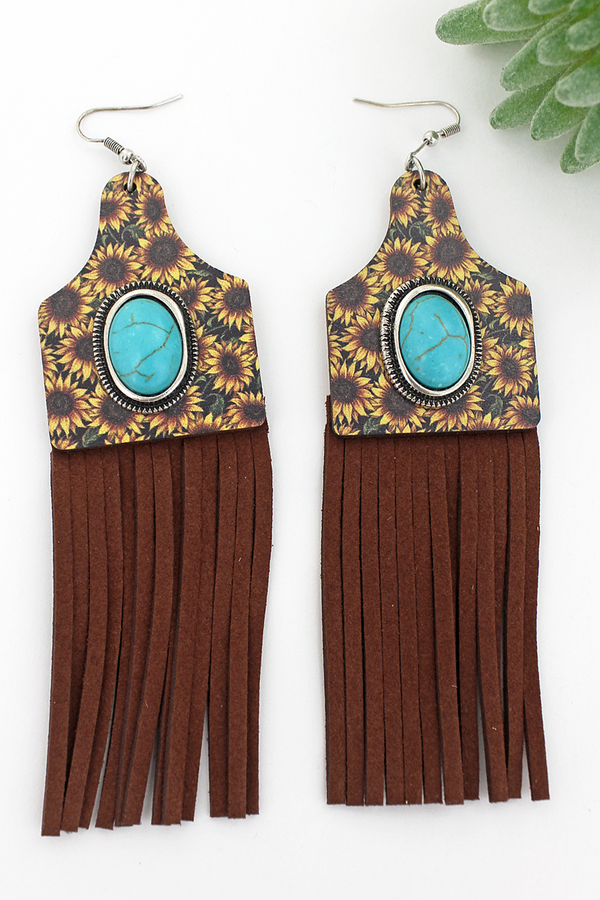 Cow tag sunflower fringe earrings