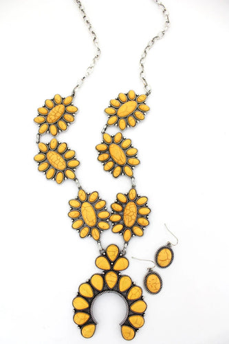 YELLOW STONE AND BURNISHED SILVERTONE SQUASH BLOSSOM NECKLACE AND EARRING SET