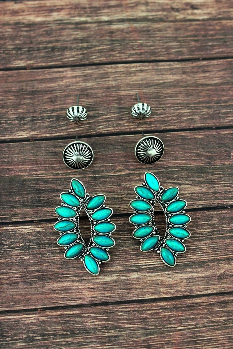 TURQUOISE OVERLAPPING OVAL AND SILVERTONE STUD EARRINGS 3 PAIR SET