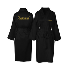 Load image into Gallery viewer, Personalised Black Satin Bridal Robe