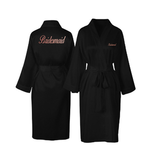 Personalised Black Satin Bridal Robe