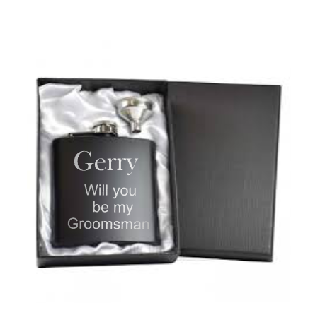 Personalised Black Will you be my? Hip flask