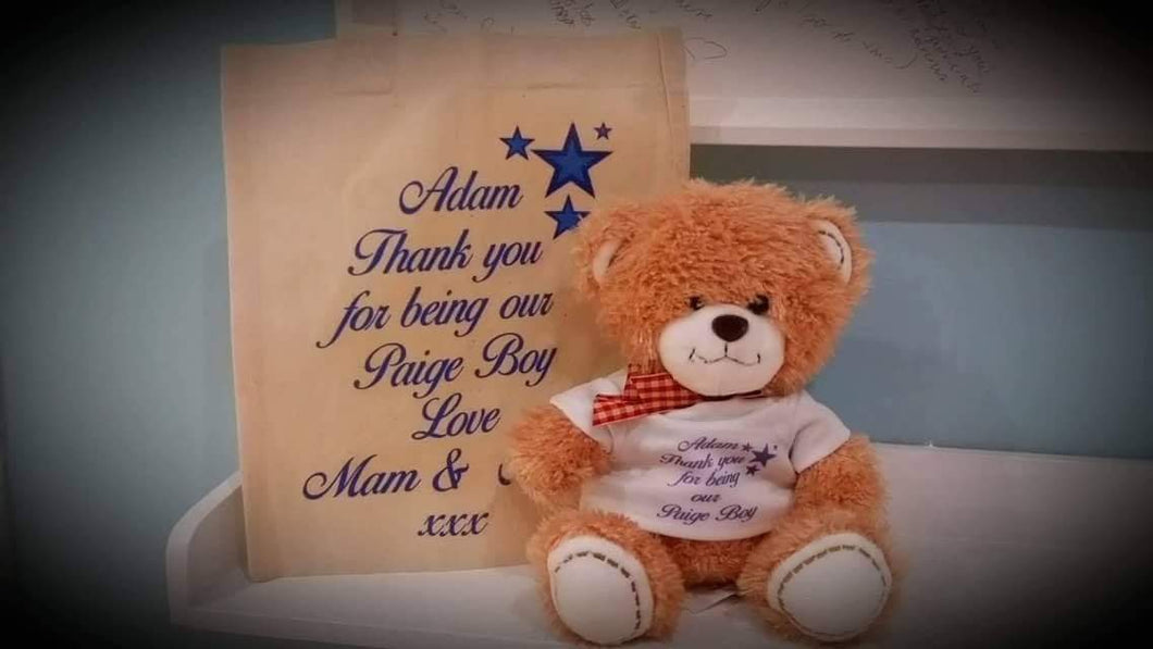 Personalised Page Boy Teddy Bear & Gift Bag