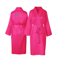 Load image into Gallery viewer, Personalised Hot pink Satin Robe