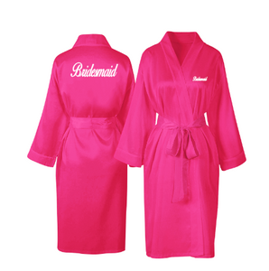 Personalised Hot pink Satin Robe