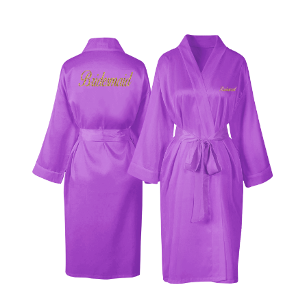 Personalised Lilac Satin Robe