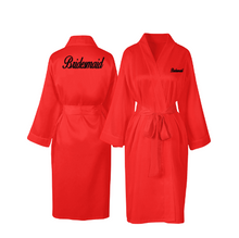 Load image into Gallery viewer, Personalised Red Satin Robe