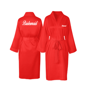 Personalised Red Satin Robe