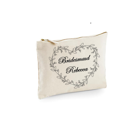 Personalised Make-Up Bags Natural