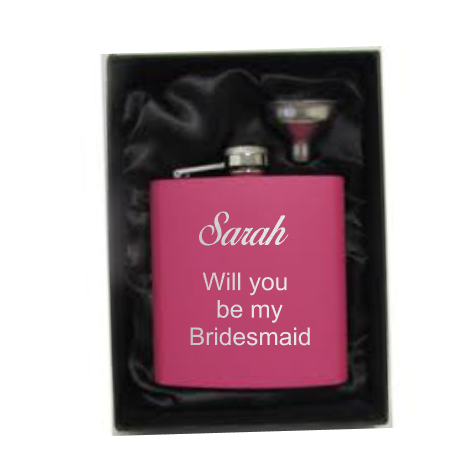 Will you be my? personalised pink hip flask