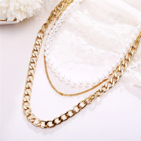 Pearls and chain necklace
