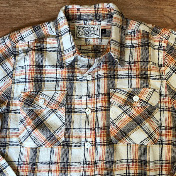 Jepson - Long Sleeve Double Pocket Flannel Shirt - Cream Plaid