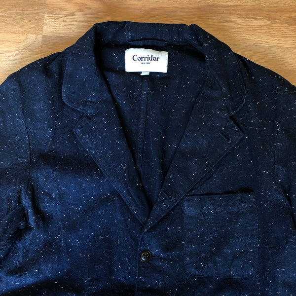 Slub Heavy Navy 5 Button Blazer