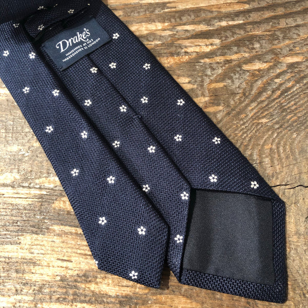 Drake's Woven Floral Tie - Navy