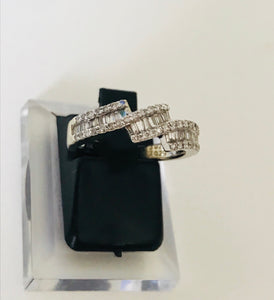 Baguette & Solitaire White Diamond Ring