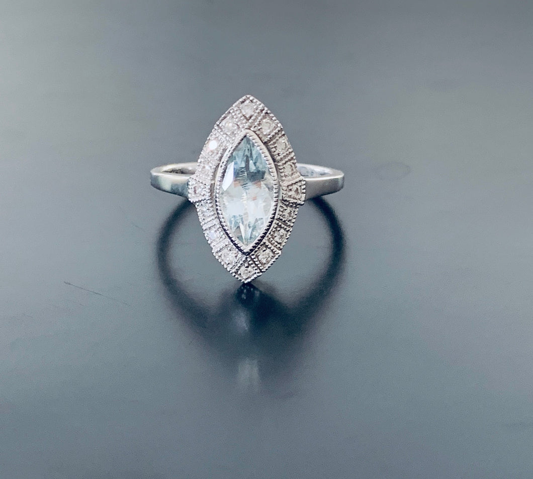 Marquise Aquamarine & Diamond White Gold Ring