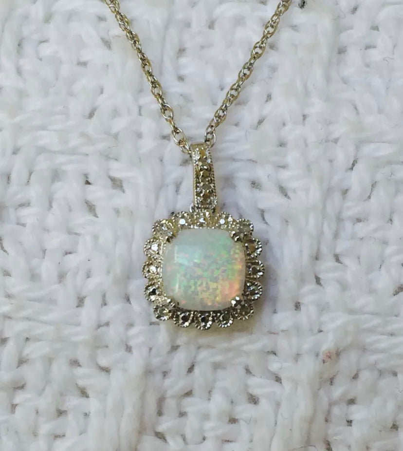 Created Opal & Natural Diamond Sterling Silver Necklace
