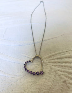 Heart Shape Amethyst Sterling Silver Necklace
