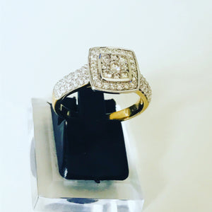 Square Diamond Cluster Gold Ring