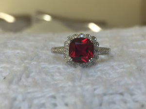 Created Ruby & Natural Diamond Sterling Silver Ring
