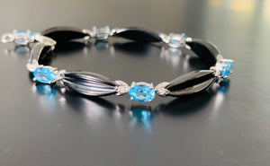 Topaz, Diamond & black Enamel Bracelet